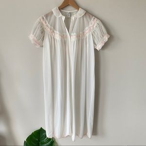VINTAGE Sheer White Nightgown Button Front Lace L